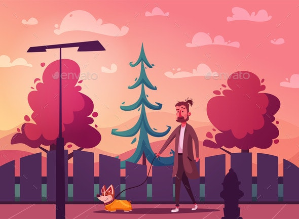 Man is Walking with a Dog Cartoon Vector - Animals Characters
