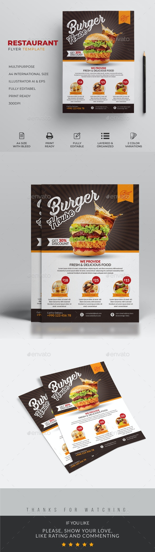 Food Flyer &  Restaurant Burger Flyer - Restaurant Flyers
