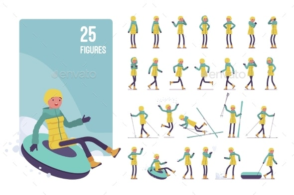 Young Woman in Striped Down Jacket Character Set - Sports/Activity Conceptual