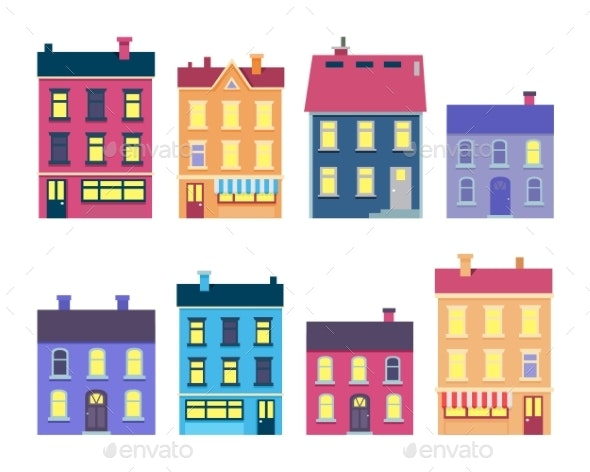 Collection of Colourful Xmas Buildings on White - Buildings Objects