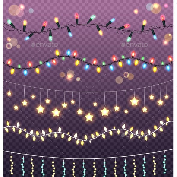 Garlands Collection on Transparent Background
