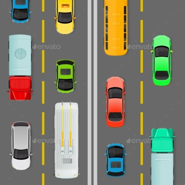 City Traffic on Top View Flat Vector Concept - Miscellaneous Vectors