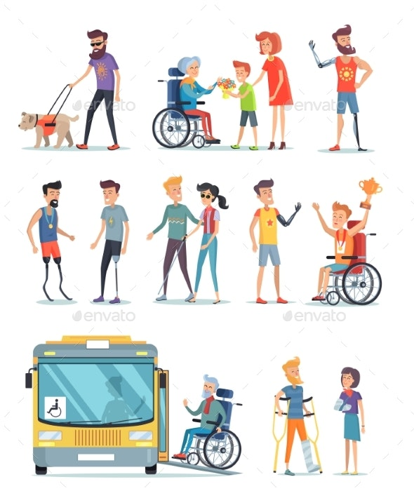Disabled People and Help for Them - Miscellaneous Vectors