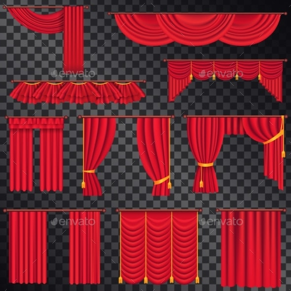 Red Curtains for Theatres Collection on Black - Man-made Objects Objects