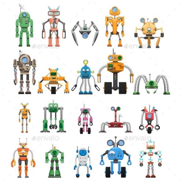 Robots Set Modular Collaborative Android Machines - Miscellaneous Vectors