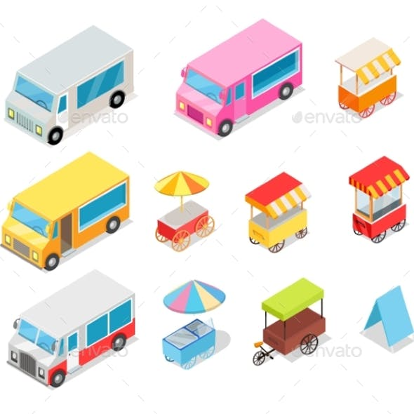Minivan and Streetfood Stall Collection on White