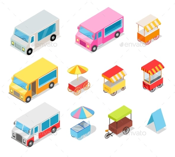 Minivan and Streetfood Stall Collection on White - Man-made Objects Objects