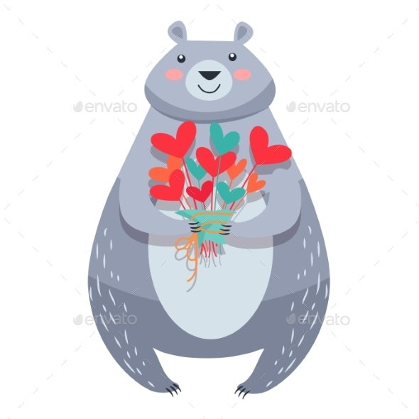 White Bear with Bouquet of Flowers Isolated Vector - Valentines Seasons/Holidays