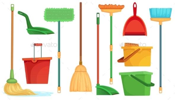 Housework Broom and Mop - Miscellaneous Vectors