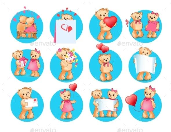 Loving Cartoon Bears Flat Vector Icons Set - Animals Characters