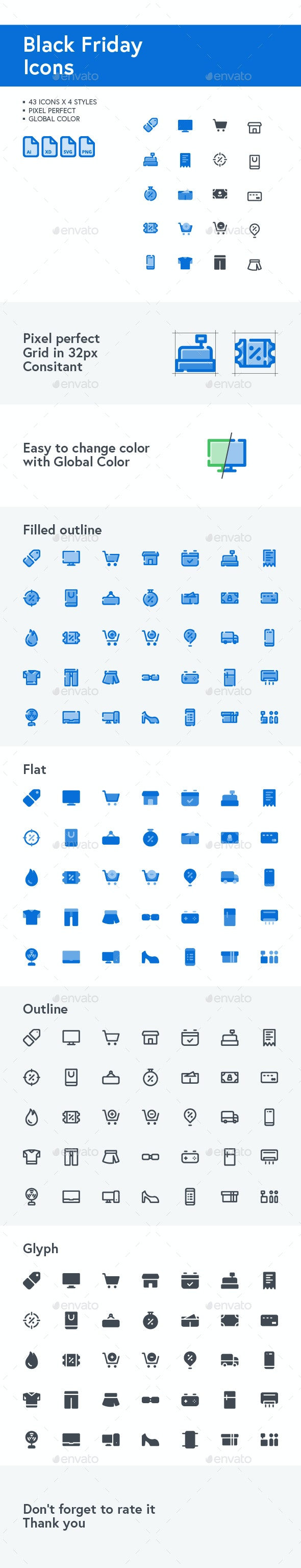 Black Friday Icons in Blue Theme For Your Website, Mobile Apps and Presentation - Icons