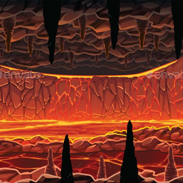 Background of Infernal Hot Cave with Lava
