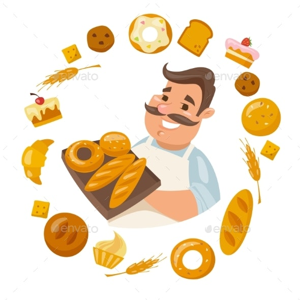 Cartoon Male Smiling Character Holding Bread - Food Objects