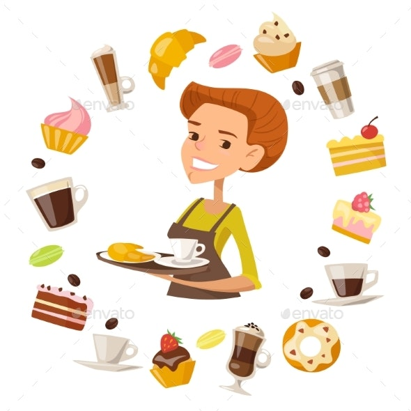 Vector Cartoon Female Character Holding a Coffee - Food Objects