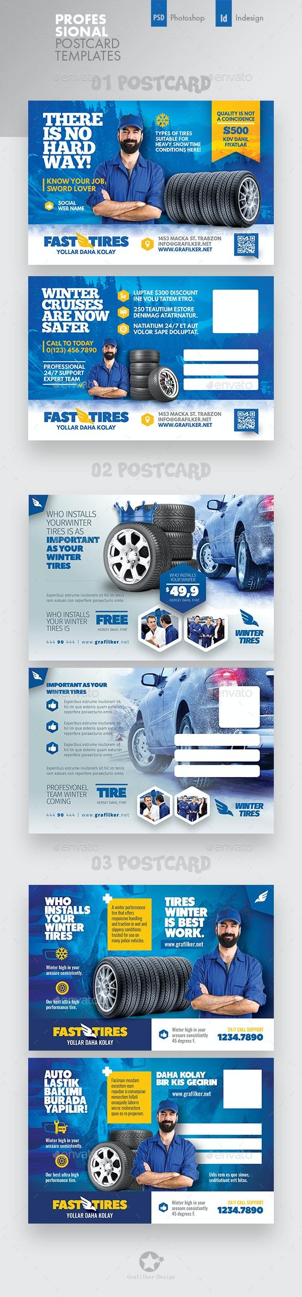 Auto Tires Postcard Bundle Templates - Cards & Invites Print Templates