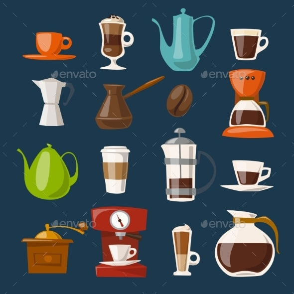 Vector Coffee Icons Set with Food and Drink - Food Objects