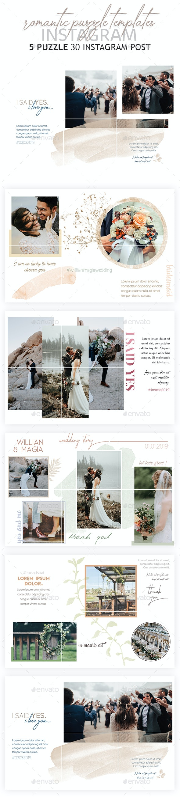 Romantic Instagram Puzzle Templates - Social Media Web Elements