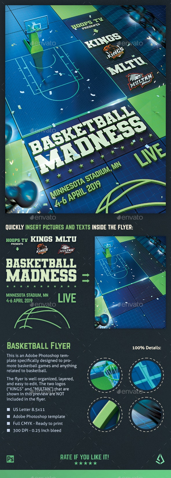 Basketball Madness Flyer College Match Template - Sports Events