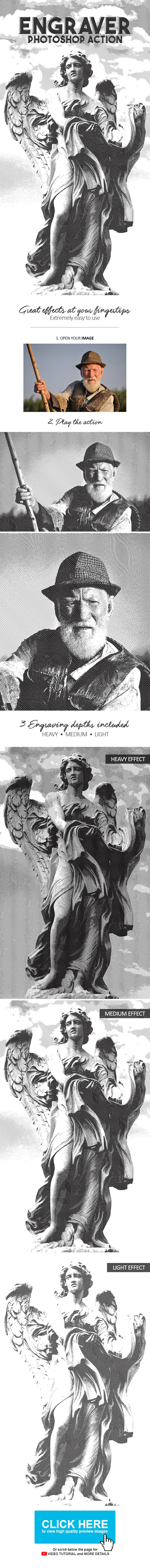 Engraver Photoshop Action - Photo Effects Actions