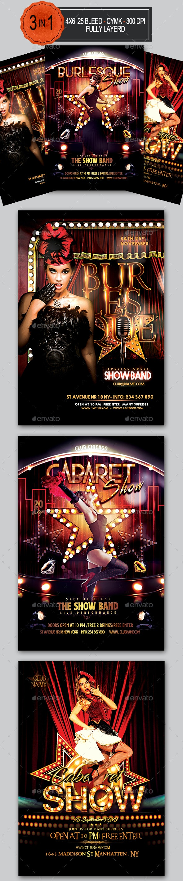 Burlesque and Cabaret Flyer Bundle - Clubs & Parties Events