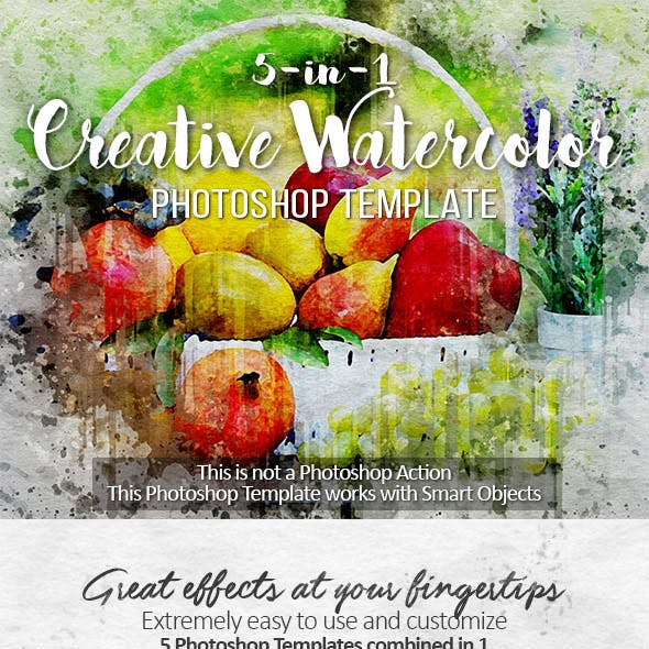 5-in-1 Creative Watercolor Photoshop Template