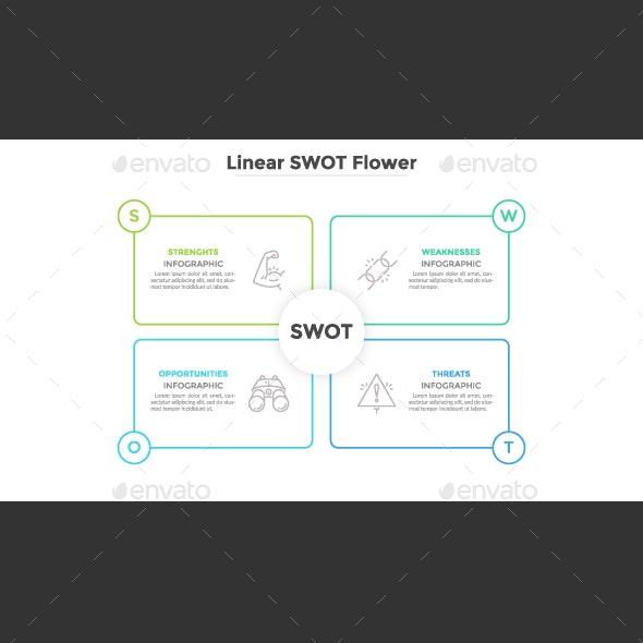 Linear SWOT Infographic Template - Infographics