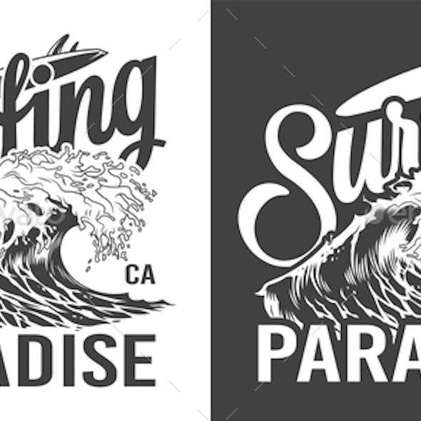 Vintage Surfing Paradise Label