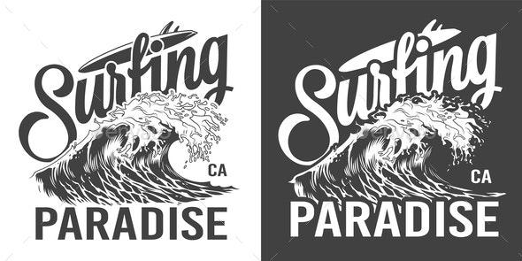 Vintage Surfing Paradise Label - Decorative Symbols Decorative