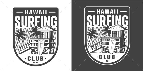 Hawaii Surfing Emblem - Sports/Activity Conceptual