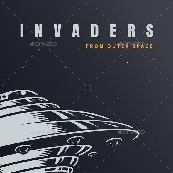 Vintage Alien Invasion Poster