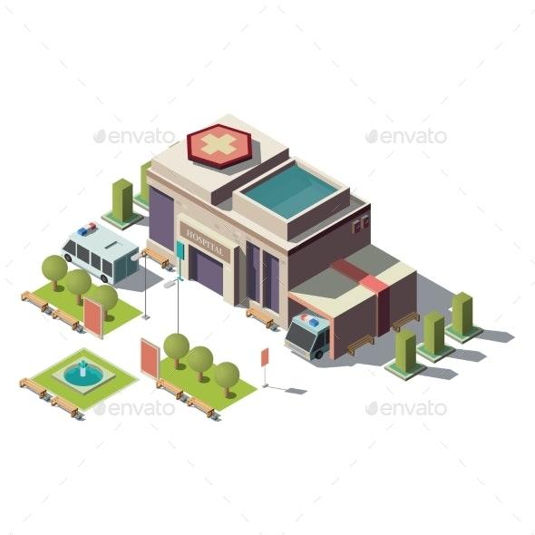 Vector Isometric Hospital Ambulance - Health/Medicine Conceptual
