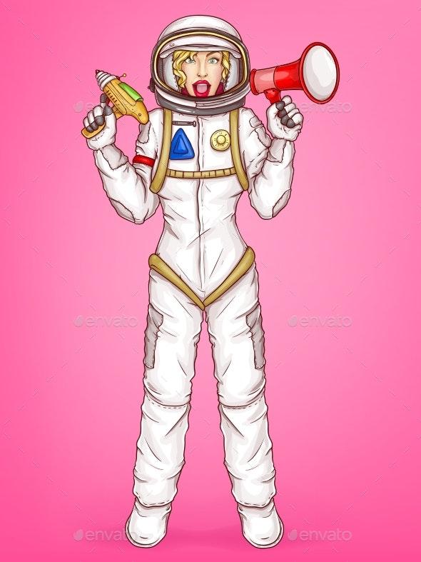 Vector Pop Art Spacewoman Holds Megaphone - People Characters