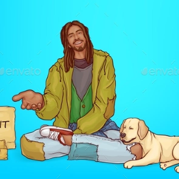 Vector Beggar with Dog