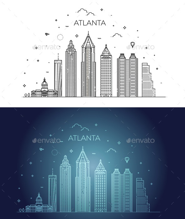 Atlanta Architecture Line Skyline Illustration - Buildings Objects