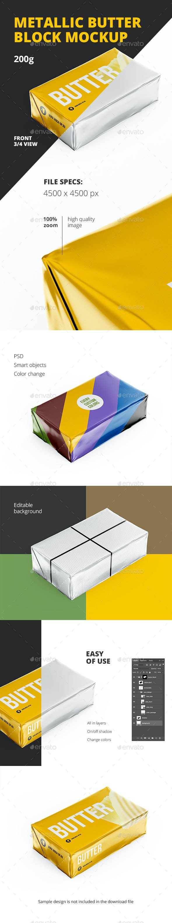 Butter Block Mockup 200g - Food and Drink Packaging