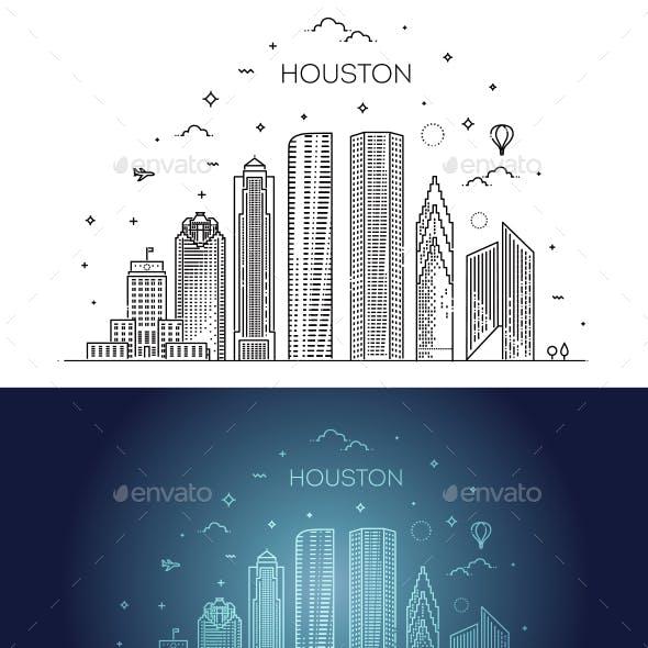 Houston City Skyline Vector Illustration