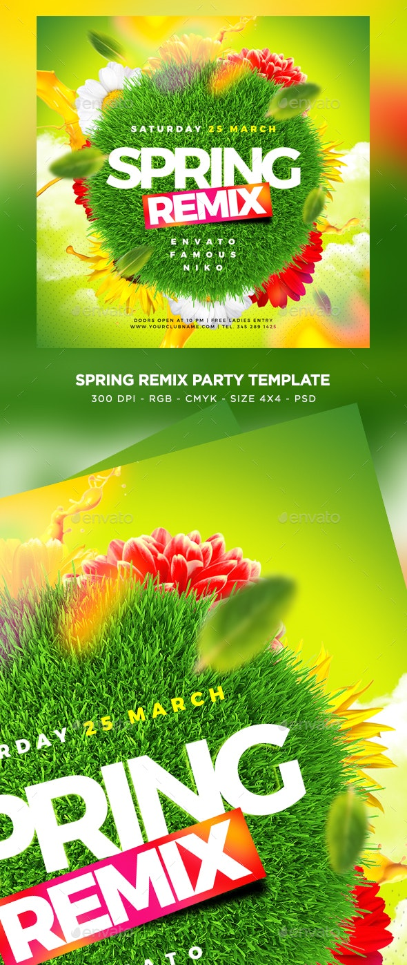 Spring Remix Flyer - Clubs & Parties Events