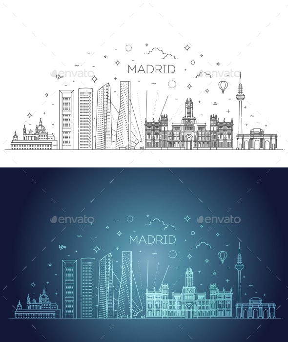 Madrid Skyline Spain Vector Illustration - Buildings Objects