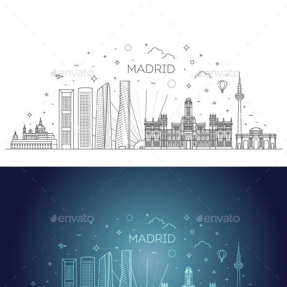 Madrid Skyline Spain Vector Illustration