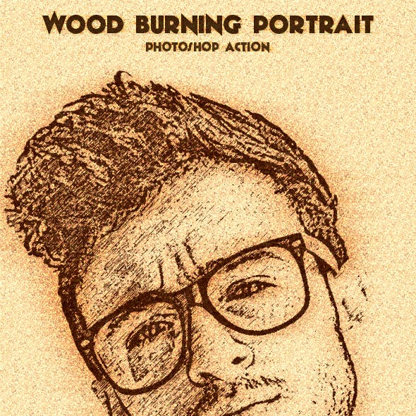 Wood Burning Portrait Photoshop Action