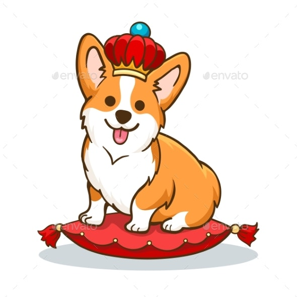 Corgi Dog with Crown - Animals Characters