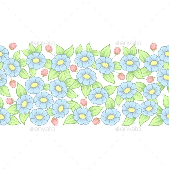 Seamless Pastel Full Floral Brush - Flowers & Plants Nature
