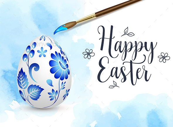 Blue Hand Painted Easter Egg - Miscellaneous Seasons/Holidays