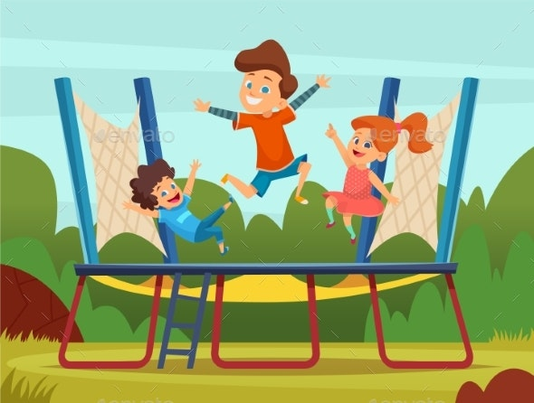 Jumping Trampoline Kids - People Characters