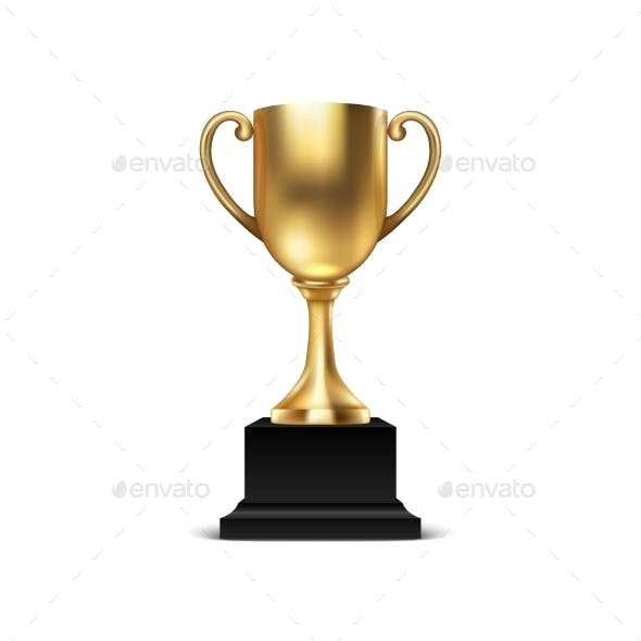 Realistic Vector Blank Golden Champion Cup Icon