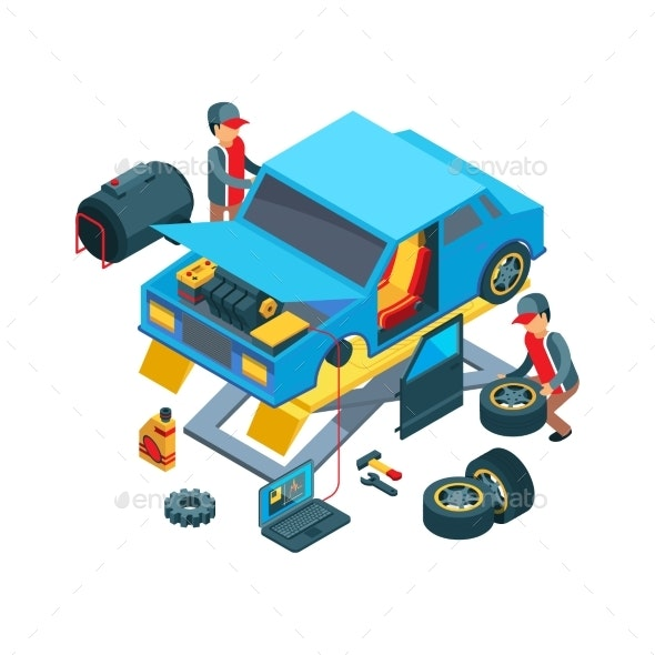 Change Car Wheels Technicians Working on Auto - Services Commercial / Shopping