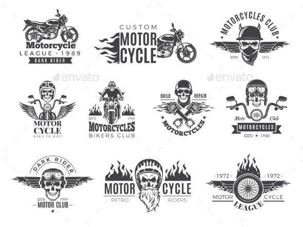 Motorcycle Labels - Web Elements Vectors