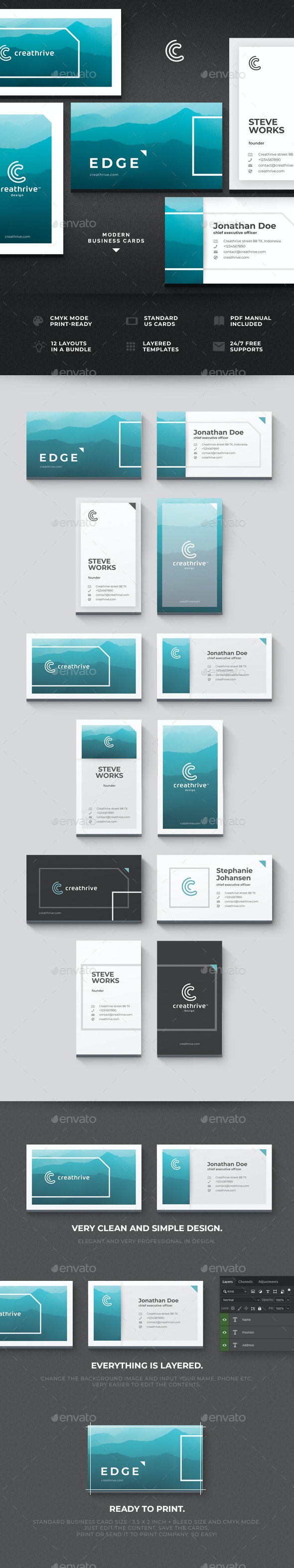 Edge Cards - Business Cards Print Templates