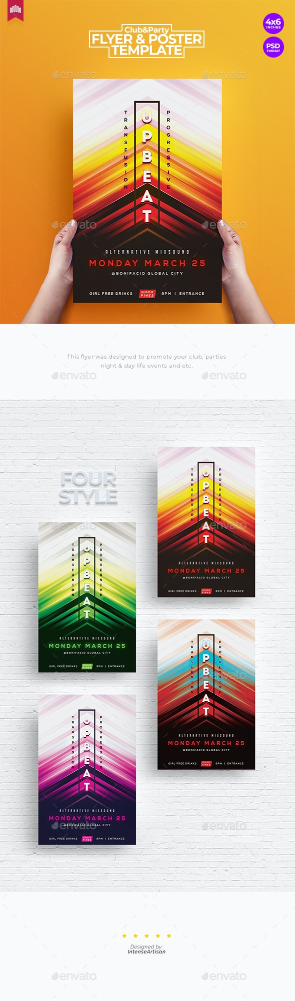 Upbeat Music - Flyer Template - Clubs & Parties Events