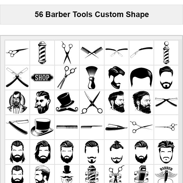 56 Barber Tools Photoshop Custom Shape